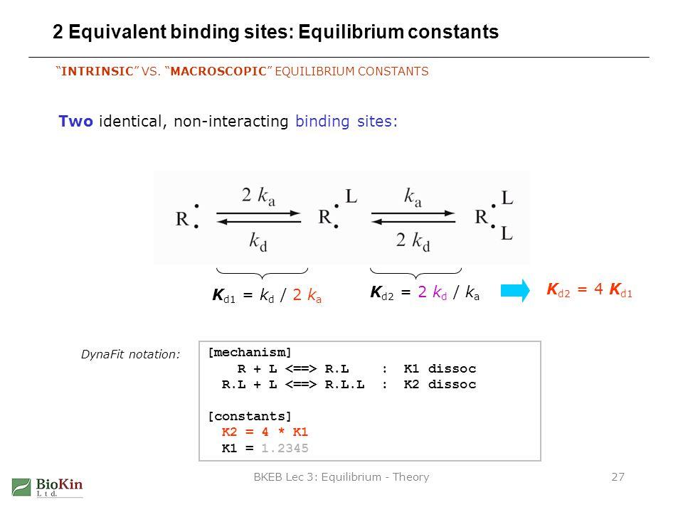 BKEB Lec 3: Equilibrium - Theory27 2 Equivalent binding sites: Equilibrium constants INTRINSIC VS.