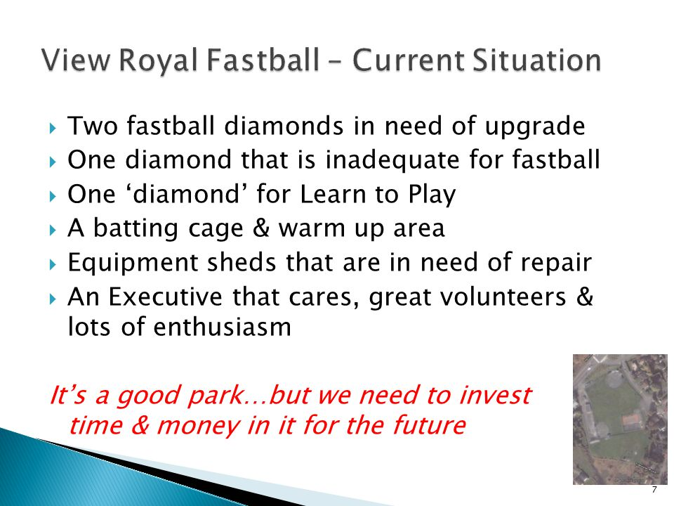  Two fastball diamonds in need of upgrade  One diamond that is inadequate for fastball  One 'diamond' for Learn to Play  A batting cage & warm up