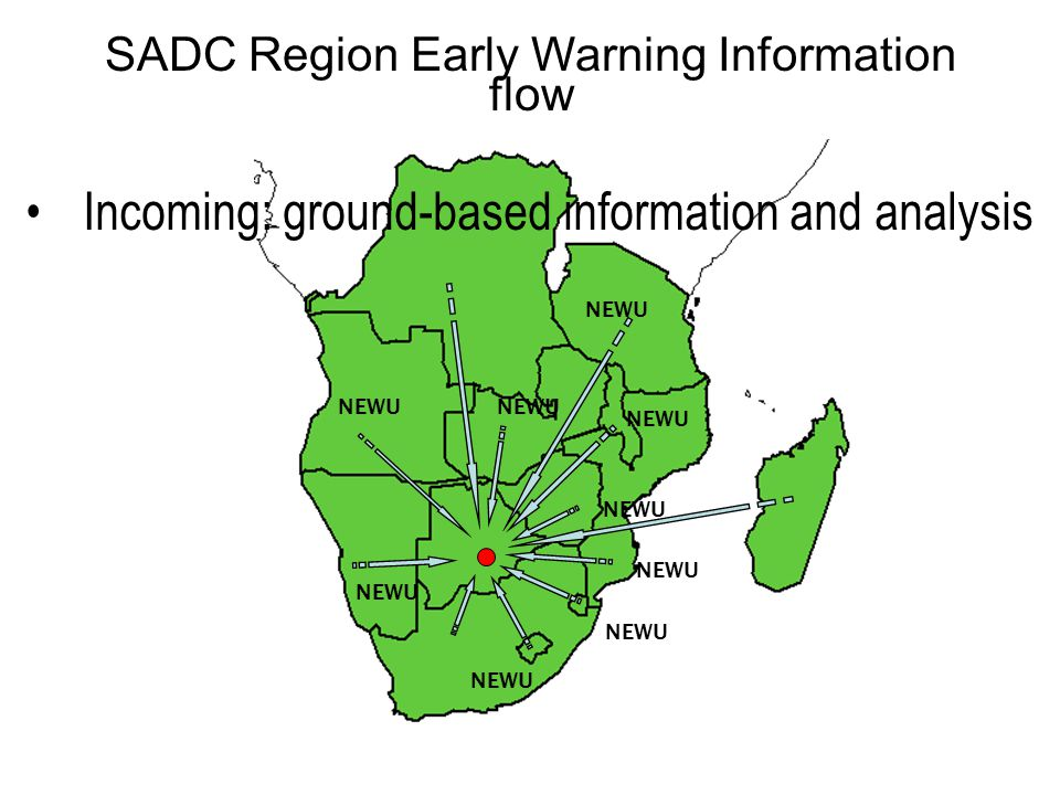 NEWU Incoming: ground-based information and analysis SADC Region Early Warning Information flow