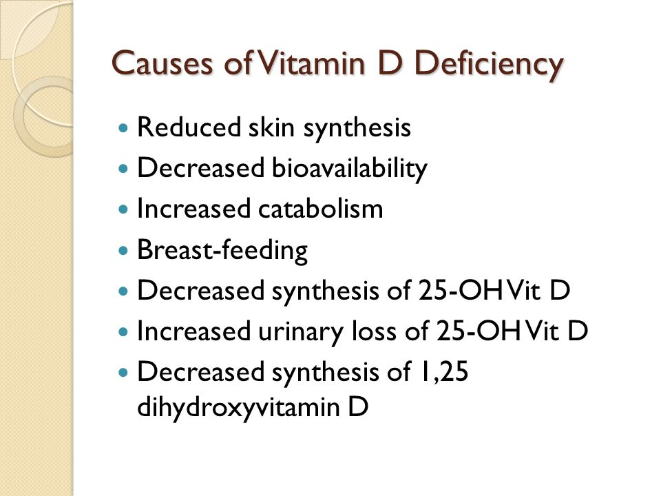 Causes of Vitamin D Deficiency Reduced skin synthesis Decreased bioavailability Increased catabolism Breast-feeding Decreased synthesis of 25-OH Vit D Increased urinary loss of 25-OH Vit D Decreased synthesis of 1,25 dihydroxyvitamin D