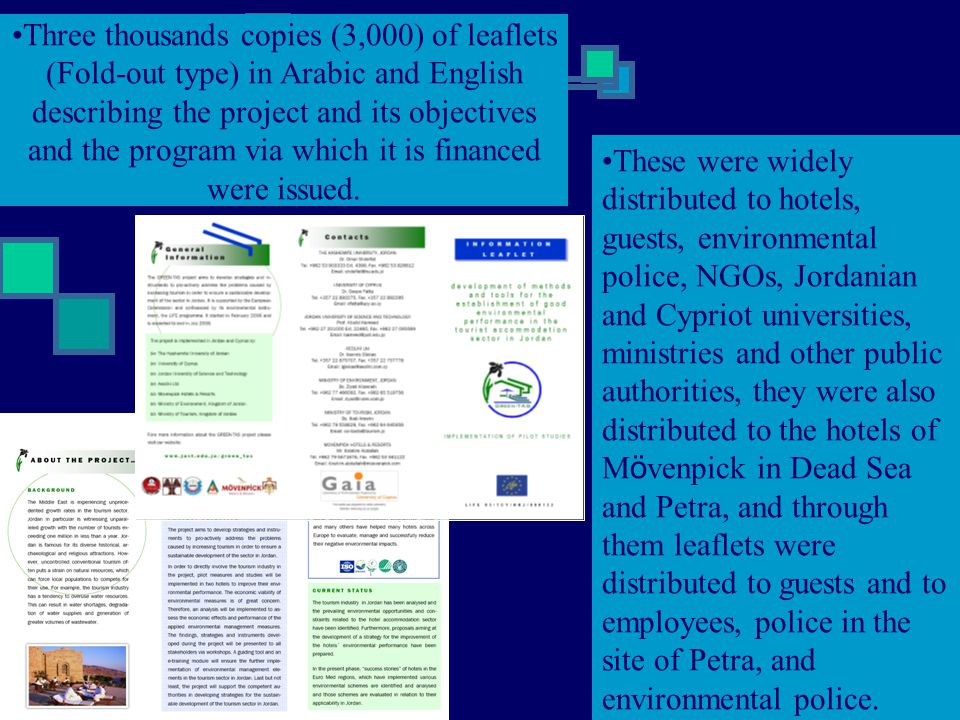 Three thousands copies (3,000) of leaflets (Fold-out type) in Arabic and English describing the project and its objectives and the program via which it is financed were issued.