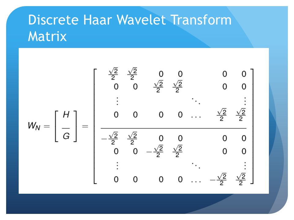 Discrete Haar Wavelet Transform Matrix
