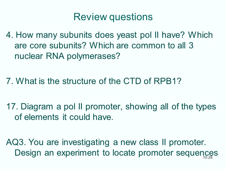 Review questions 4. How many subunits does yeast pol II have? Which are core subunits? Which are common to all 3 nuclear RNA polymerases? 7. What is t