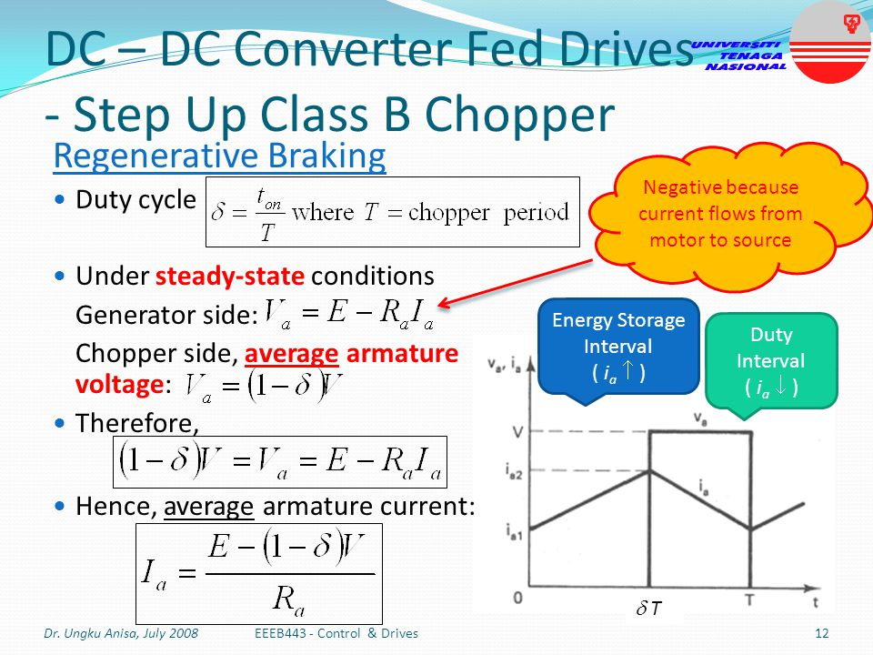 DC – DC Converter Fed Drives - Step Up Class B Chopper Regenerative Braking Duty cycle Under steady-state conditions Generator side: Chopper side, ave