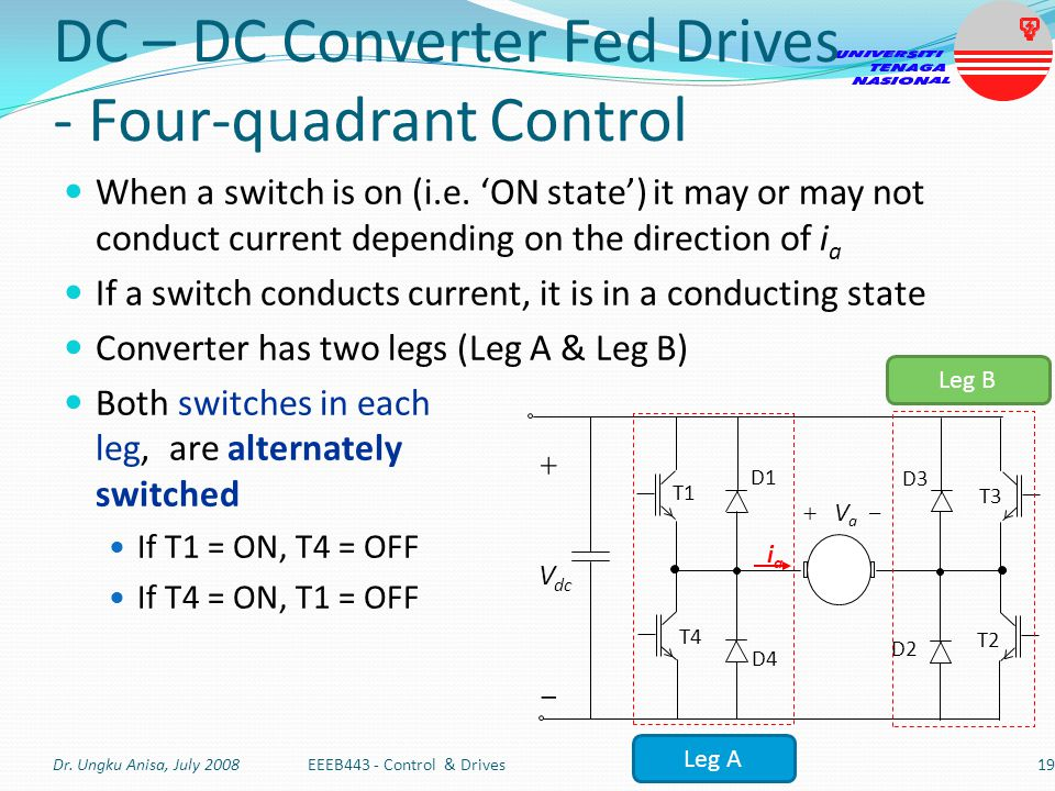 DC – DC Converter Fed Drives - Four-quadrant Control When a switch is on (i.e. 'ON state') it may or may not conduct current depending on the directio