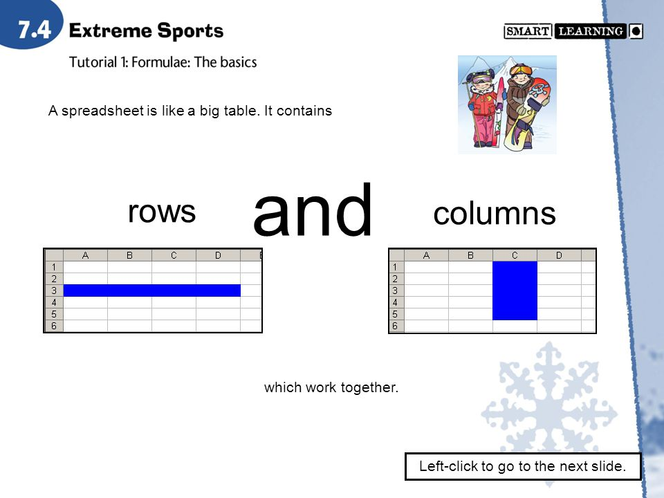 A spreadsheet is like a big table. It contains rows and columns which work together.