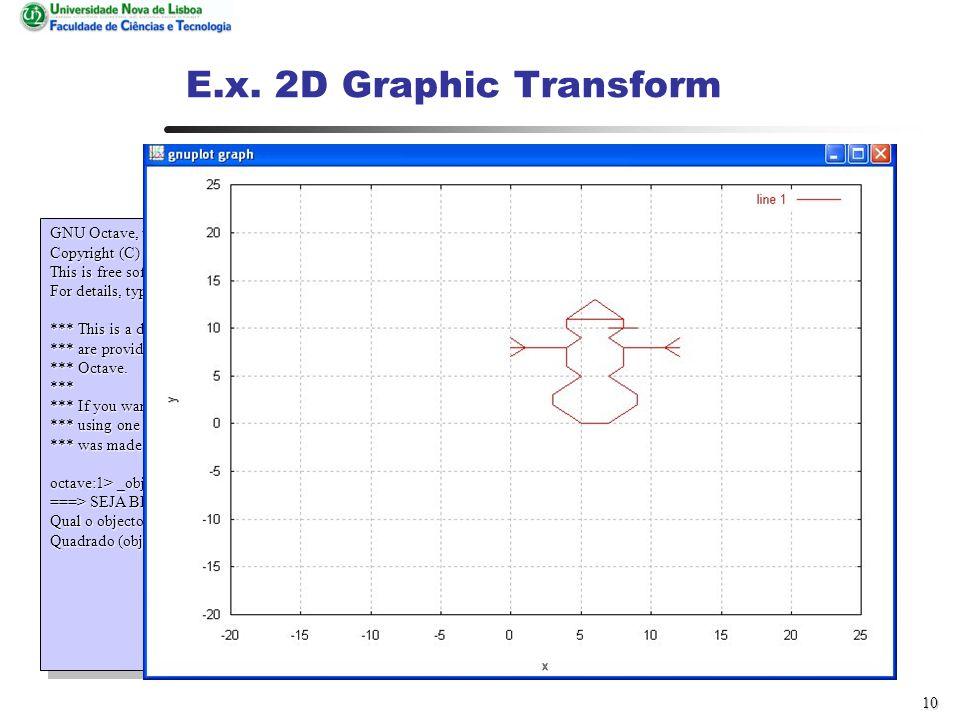 9 E.x. 2D Graphic Transform GNU Octave, version 2.1.35 (i386-pc-linux-gnu).