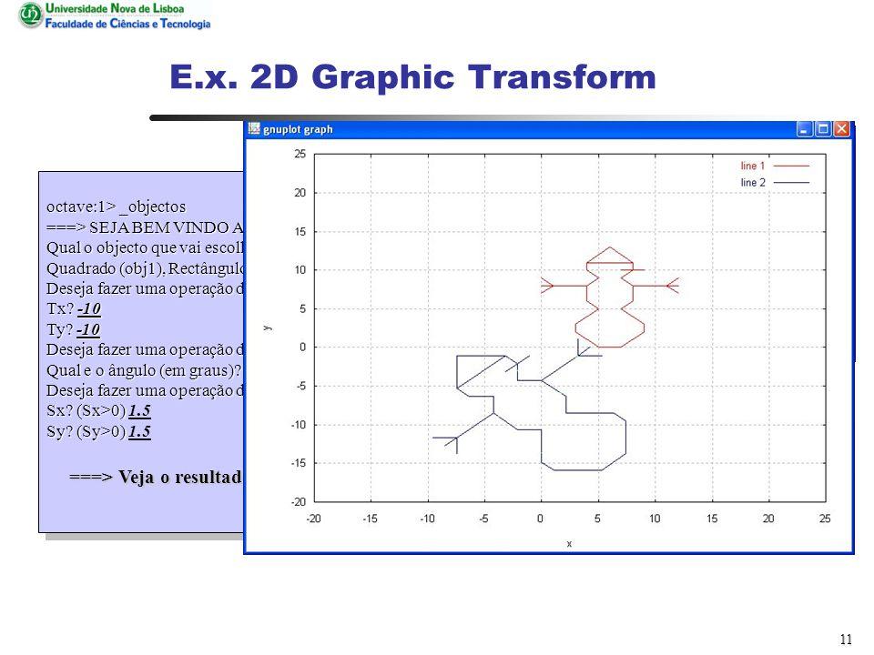 10 E.x. 2D Graphic Transform GNU Octave, version 2.1.35 (i386-pc-linux-gnu).
