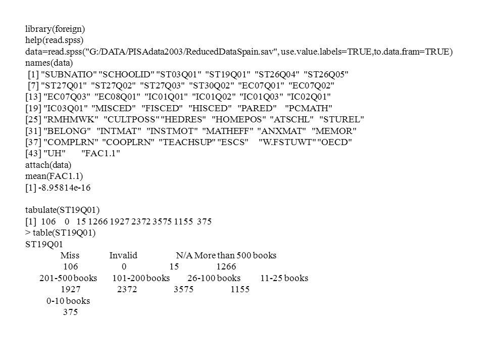 library(foreign) help(read.spss) data=read.spss( G:/DATA/PISAdata2003/ReducedDataSpain.sav , use.value.labels=TRUE,to.data.fram=TRUE) names(data) [1] SUBNATIO SCHOOLID ST03Q01 ST19Q01 ST26Q04 ST26Q05 [7] ST27Q01 ST27Q02 ST27Q03 ST30Q02 EC07Q01 EC07Q02 [13] EC07Q03 EC08Q01 IC01Q01 IC01Q02 IC01Q03 IC02Q01 [19] IC03Q01 MISCED FISCED HISCED PARED PCMATH [25] RMHMWK CULTPOSS HEDRES HOMEPOS ATSCHL STUREL [31] BELONG INTMAT INSTMOT MATHEFF ANXMAT MEMOR [37] COMPLRN COOPLRN TEACHSUP ESCS W.FSTUWT OECD [43] UH FAC1.1 attach(data) mean(FAC1.1) [1] -8.95814e-16 tabulate(ST19Q01) [1] 106 0 15 1266 1927 2372 3575 1155 375 > table(ST19Q01) ST19Q01 Miss Invalid N/A More than 500 books 106 0 15 1266 201-500 books 101-200 books 26-100 books 11-25 books 1927 2372 3575 1155 0-10 books 375
