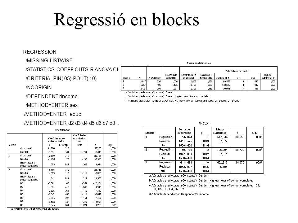 Regressió en blocks REGRESSION /MISSING LISTWISE /STATISTICS COEFF OUTS R ANOVA CHANGE /CRITERIA=PIN(.05) POUT(.10) /NOORIGIN /DEPENDENT rincome /METHOD=ENTER sex /METHOD=ENTER educ /METHOD=ENTER d2 d3 d4 d5 d6 d7 d8.