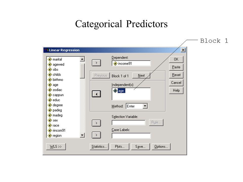 Categorical Predictors Block 1