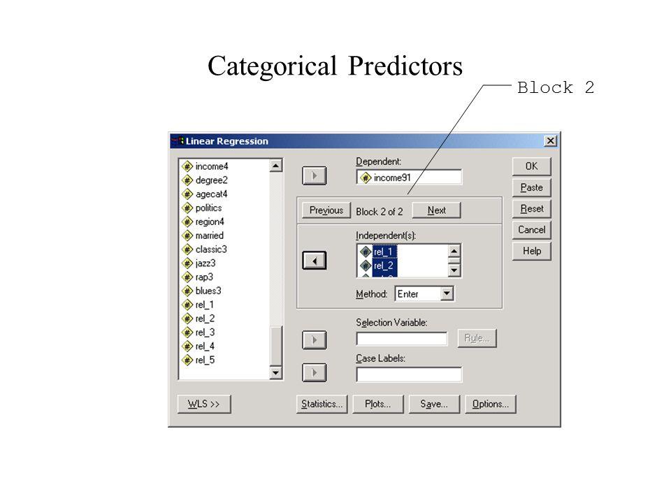 Categorical Predictors Block 2