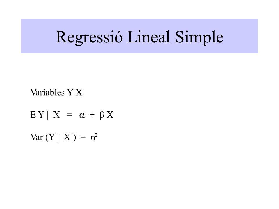 Regressió Lineal Simple Variables Y X E Y | X =  +  X Var (Y | X ) =  