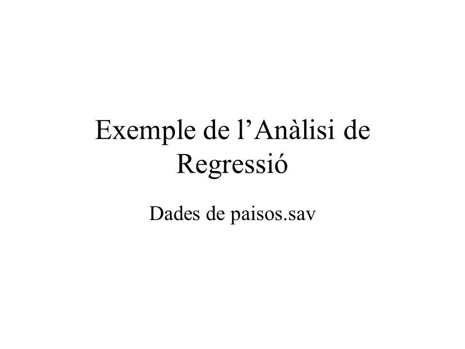 Exemple de l'Anàlisi de Regressió Dades de paisos.sav