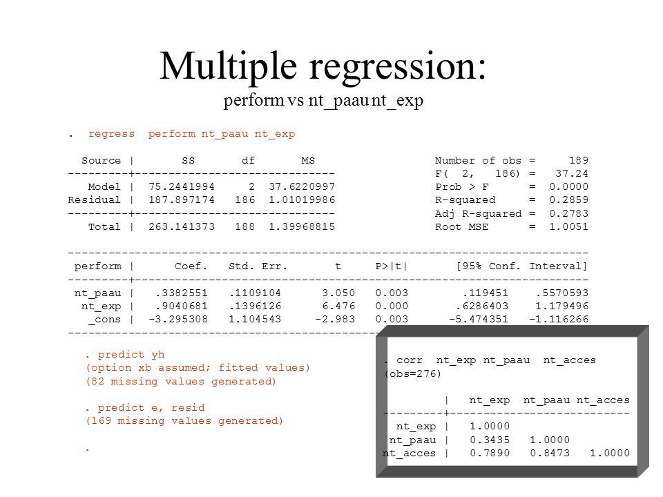 Multiple regression: perform vs nt_paau nt_exp.