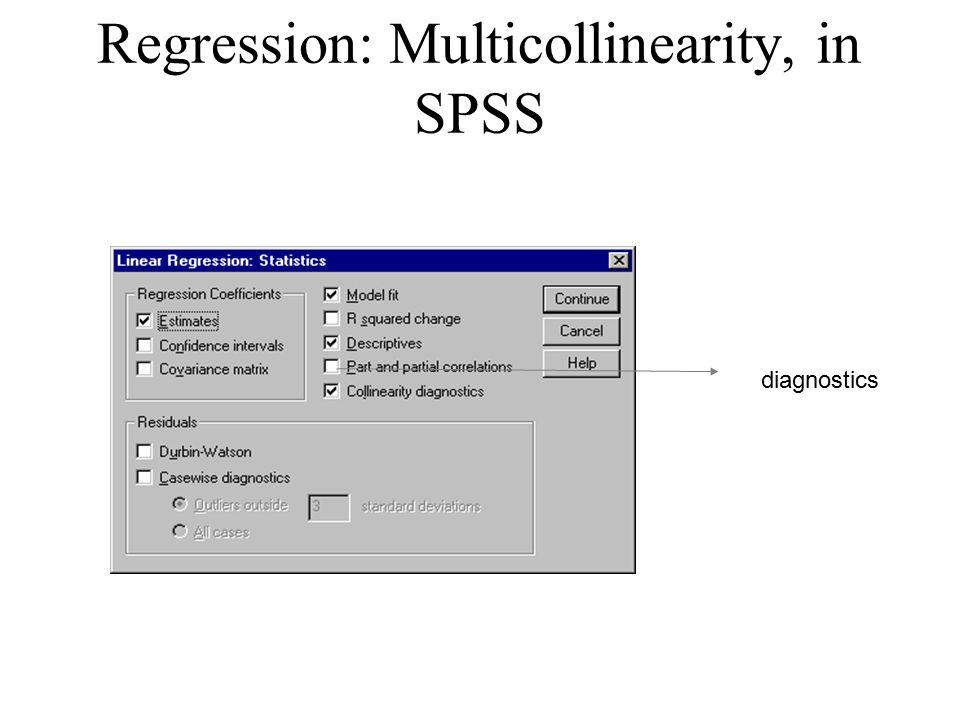 Regression: Multicollinearity, in SPSS diagnostics