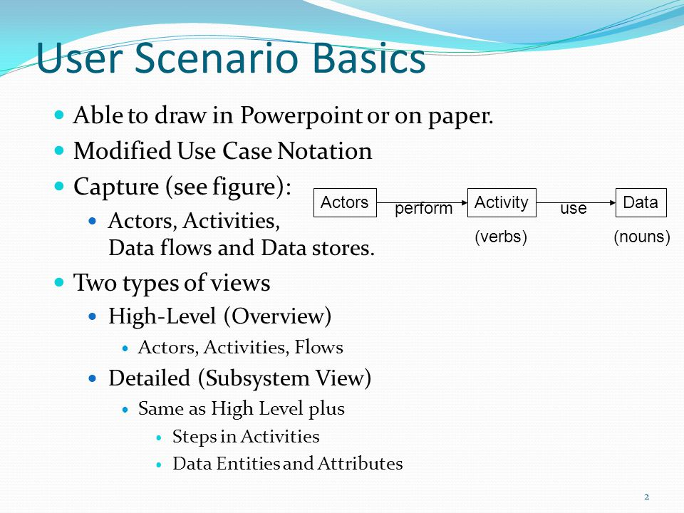 User Scenario Basics Able to draw in Powerpoint or on paper. Modified Use Case Notation Capture (see figure): Actors, Activities, Data flows and Data