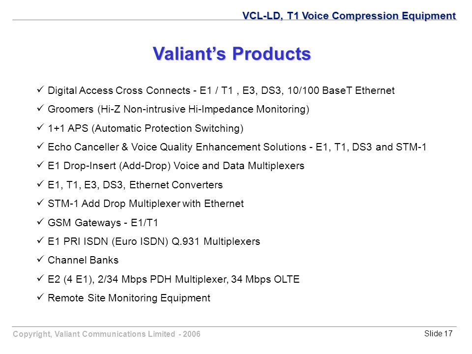 Copyright, Valiant Communications Limited - 2006Slide 17 VCL-LD, T1 Voice Compression Equipment Valiant's Products Digital Access Cross Connects - E1 / T1, E3, DS3, 10/100 BaseT Ethernet Groomers (Hi-Z Non-intrusive Hi-Impedance Monitoring) 1+1 APS (Automatic Protection Switching) Echo Canceller & Voice Quality Enhancement Solutions - E1, T1, DS3 and STM-1 E1 Drop-Insert (Add-Drop) Voice and Data Multiplexers E1, T1, E3, DS3, Ethernet Converters STM-1 Add Drop Multiplexer with Ethernet GSM Gateways - E1/T1 E1 PRI ISDN (Euro ISDN) Q.931 Multiplexers Channel Banks E2 (4 E1), 2/34 Mbps PDH Multiplexer, 34 Mbps OLTE Remote Site Monitoring Equipment