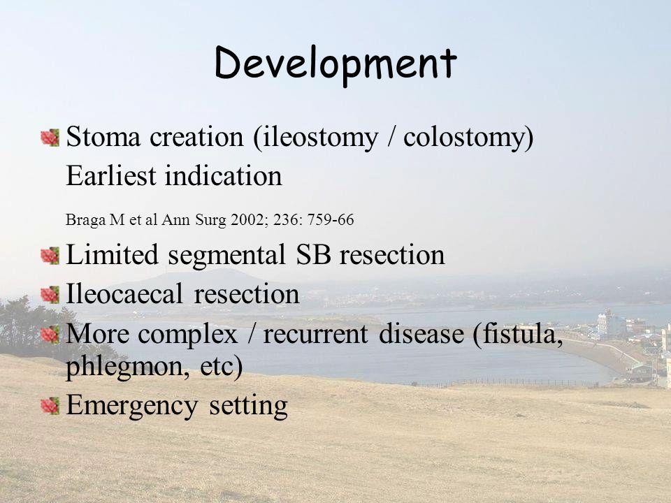Development Stoma creation (ileostomy / colostomy) Earliest indication Braga M et al Ann Surg 2002; 236: 759-66 Limited segmental SB resection Ileocae