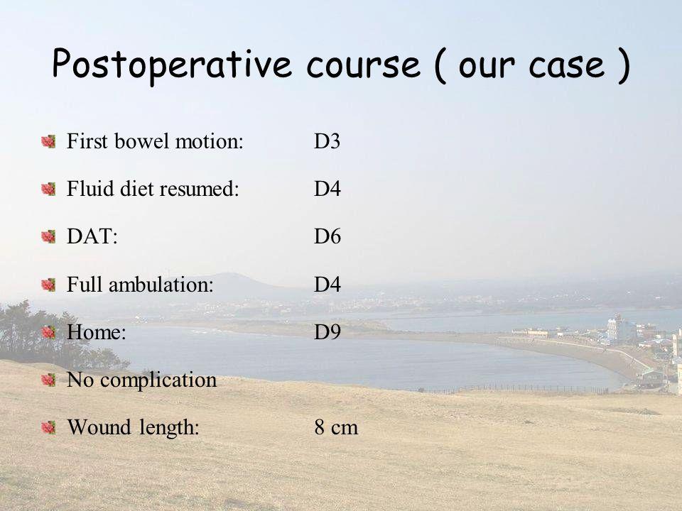 Postoperative course ( our case ) First bowel motion:D3 Fluid diet resumed: D4 DAT:D6 Full ambulation: D4 Home:D9 No complication Wound length: 8 cm