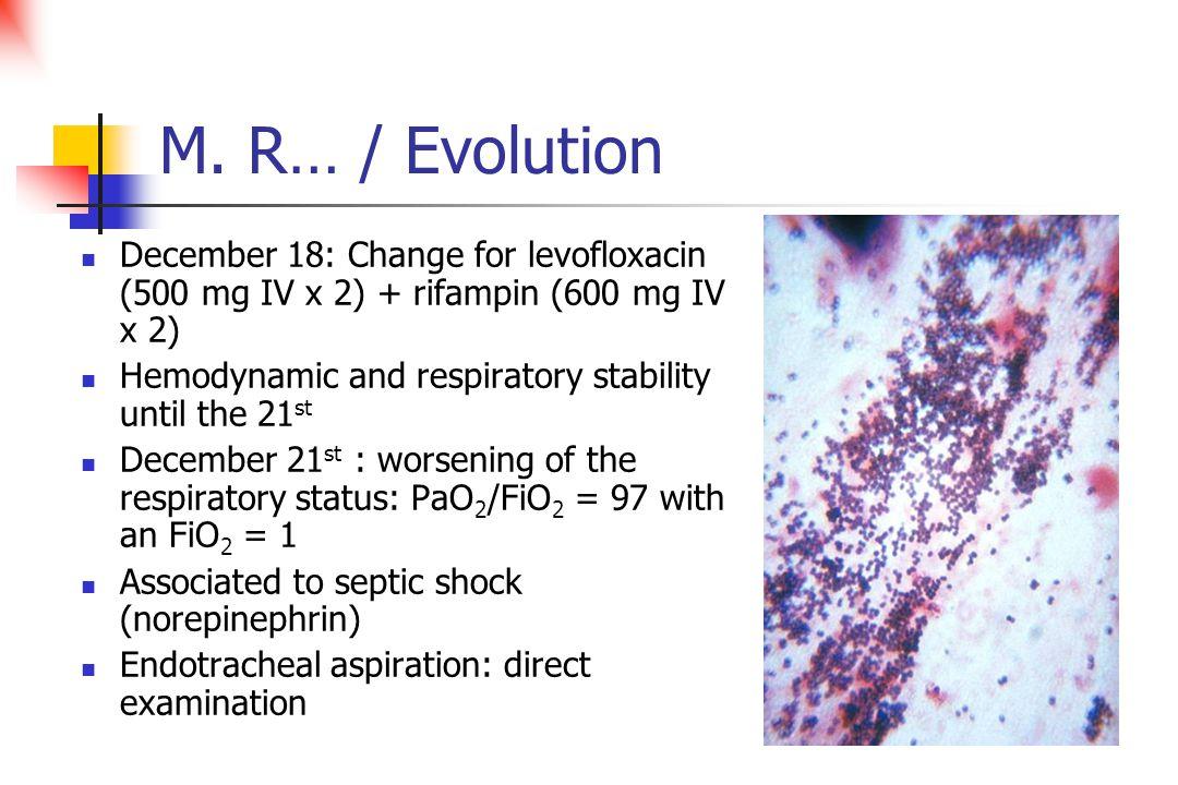 M. R… / Evolution December 18: Change for levofloxacin (500 mg IV x 2) + rifampin (600 mg IV x 2) Hemodynamic and respiratory stability until the 21 s