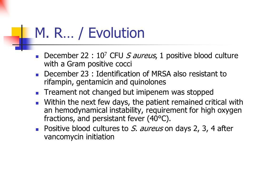 M. R… / Evolution December 22 : 10 7 CFU S aureus, 1 positive blood culture with a Gram positive cocci December 23 : Identification of MRSA also resis