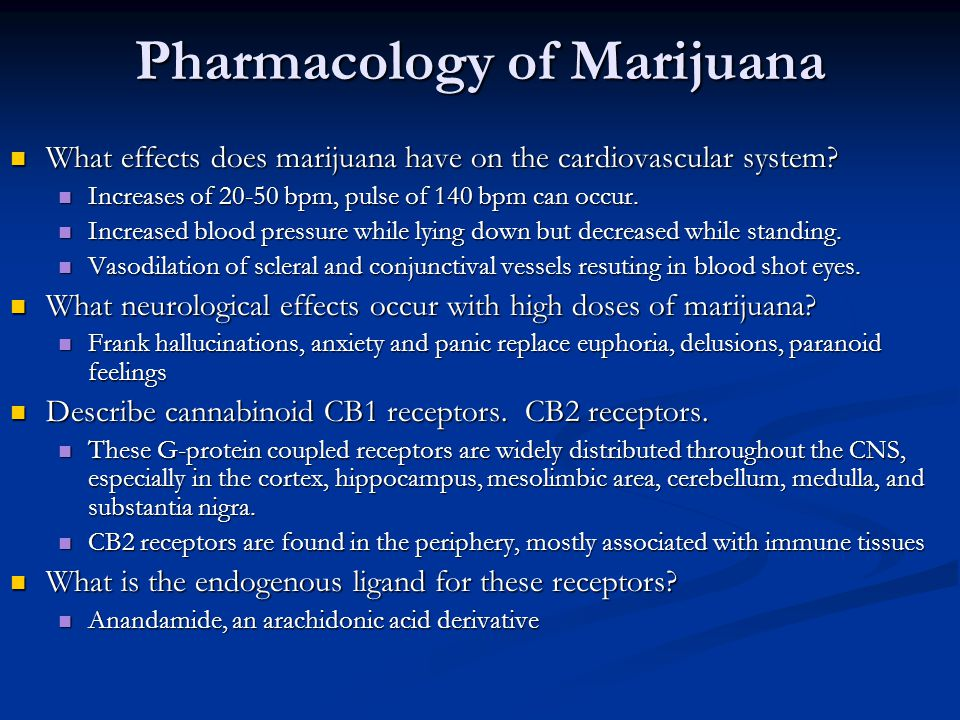 Pharmacology of Marijuana What effects does marijuana have on the cardiovascular system.