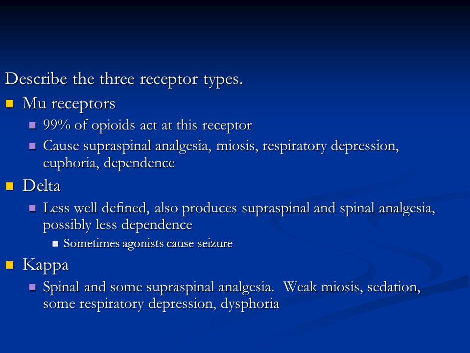 Describe the three receptor types. Mu receptors Mu receptors 99% of opioids act at this receptor 99% of opioids act at this receptor Cause supraspinal