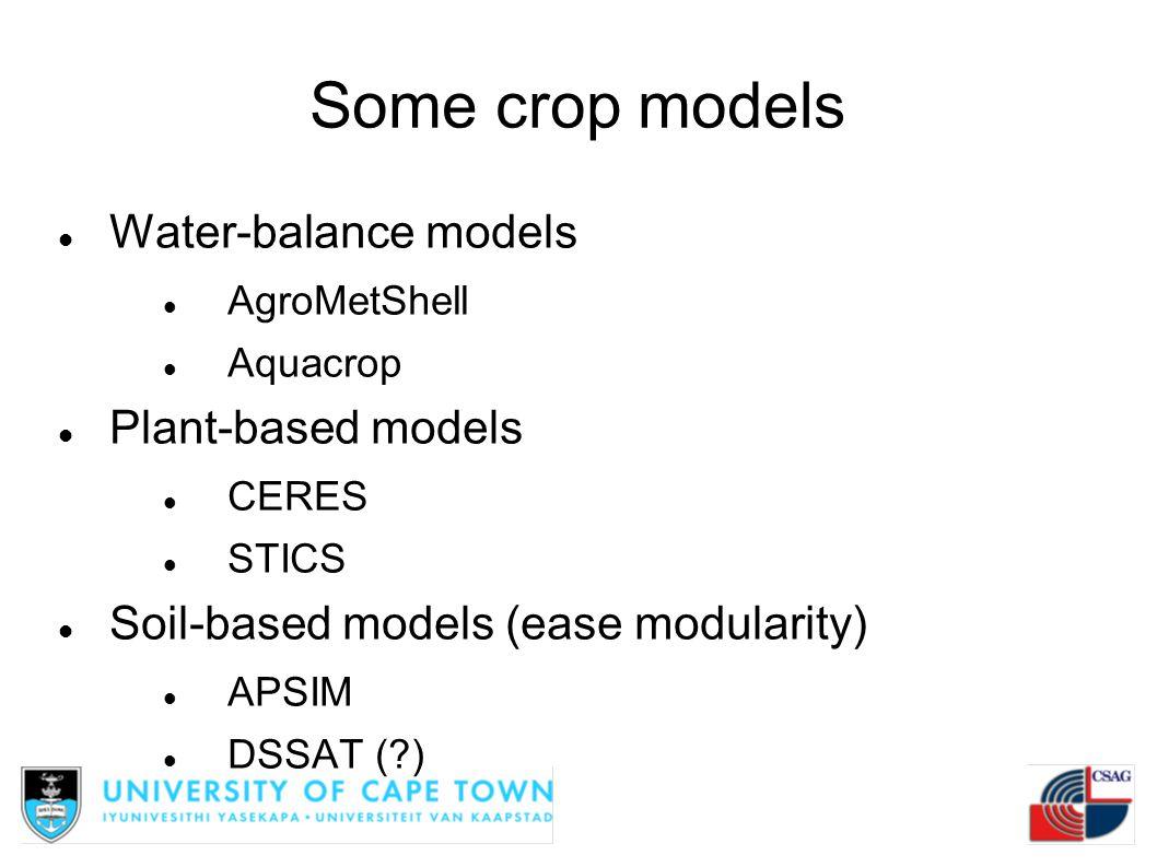 Some crop models Water-balance models AgroMetShell Aquacrop Plant-based models CERES STICS Soil-based models (ease modularity) APSIM DSSAT (?)