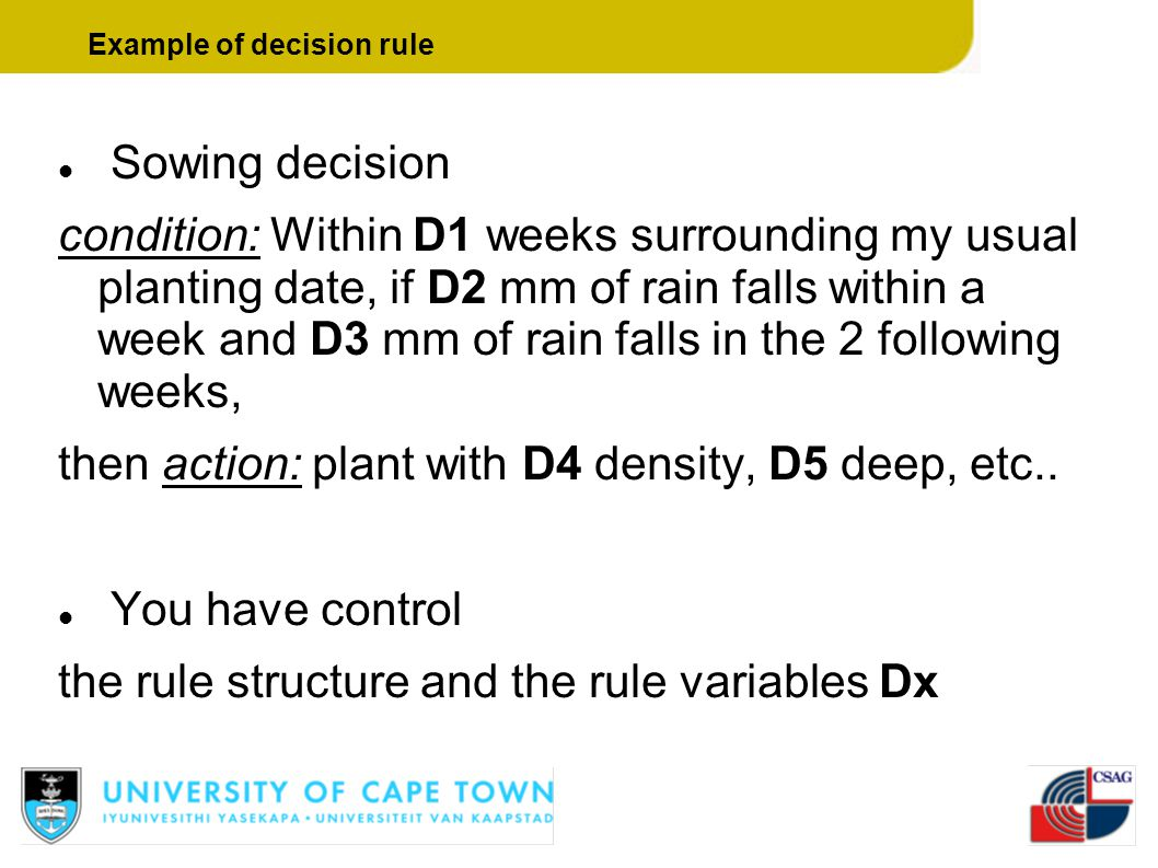 Sowing decision condition: Within D1 weeks surrounding my usual planting date, if D2 mm of rain falls within a week and D3 mm of rain falls in the 2 f