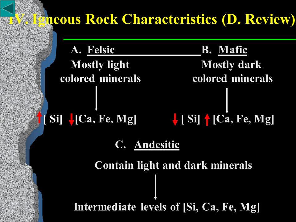 IV. Igneous Rock Characteristics C.