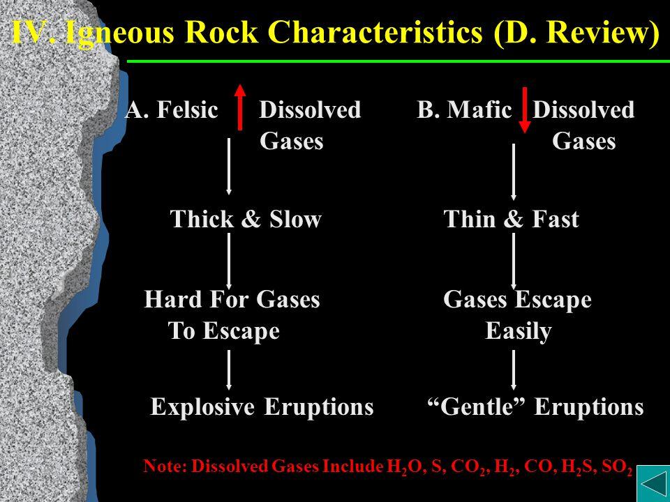 IV. Igneous Rock Characteristics (D.