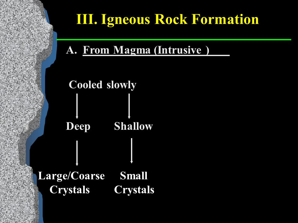 III. Igneous Rock Formation A.Magma - molten (liquid) rock found beneath the earth's surface.