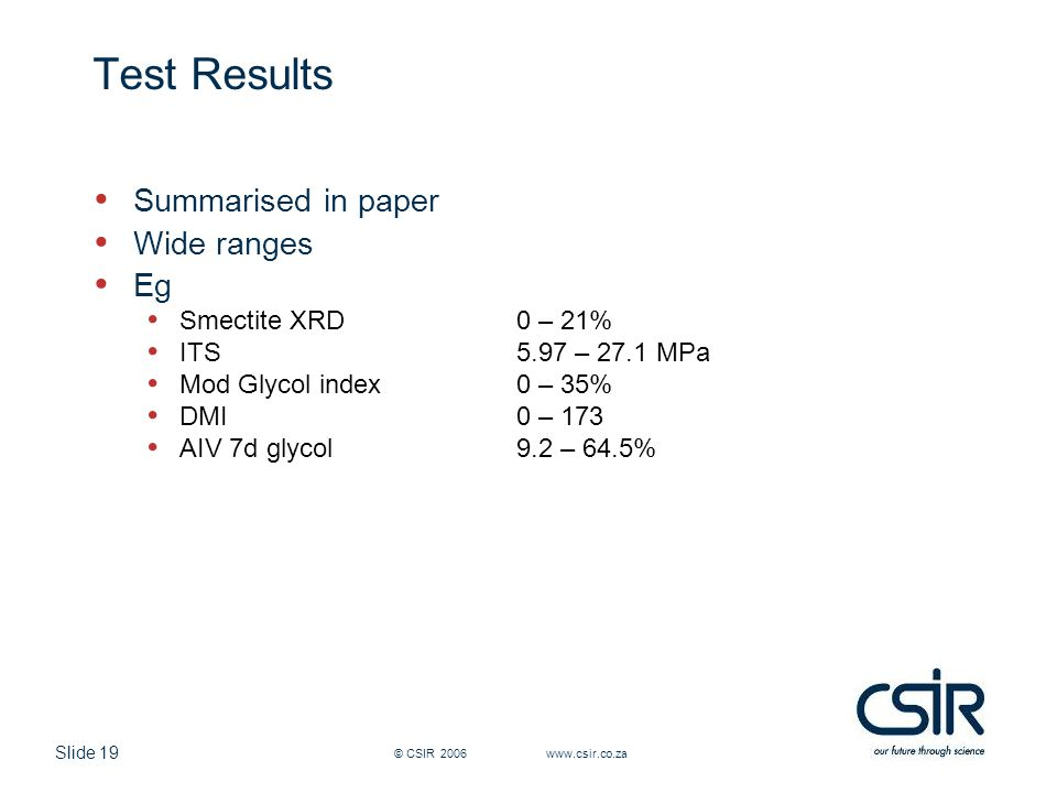 Slide 19 © CSIR 2006 www.csir.co.za Test Results Summarised in paper Wide ranges Eg Smectite XRD 0 – 21% ITS 5.97 – 27.1 MPa Mod Glycol index0 – 35% DMI0 – 173 AIV 7d glycol9.2 – 64.5%