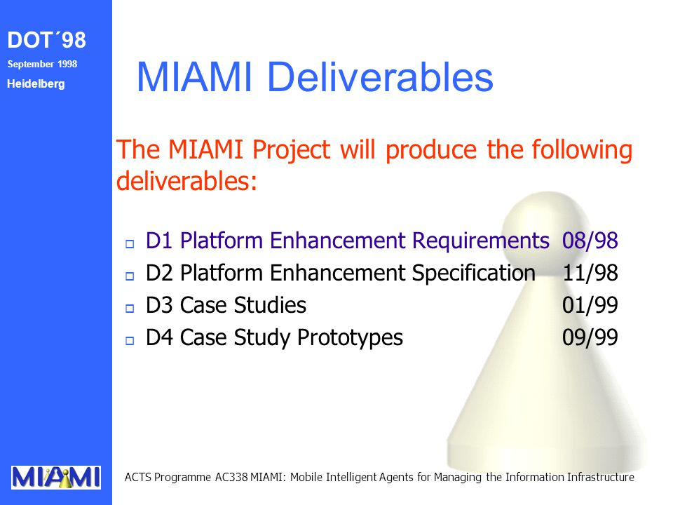 DOT´98 September 1998 Heidelberg ACTS Programme AC338 MIAMI: Mobile Intelligent Agents for Managing the Information Infrastructure MIAMI Deliverables The MIAMI Project will produce the following deliverables: o D1 Platform Enhancement Requirements08/98 o D2 Platform Enhancement Specification11/98 o D3 Case Studies01/99 o D4 Case Study Prototypes09/99