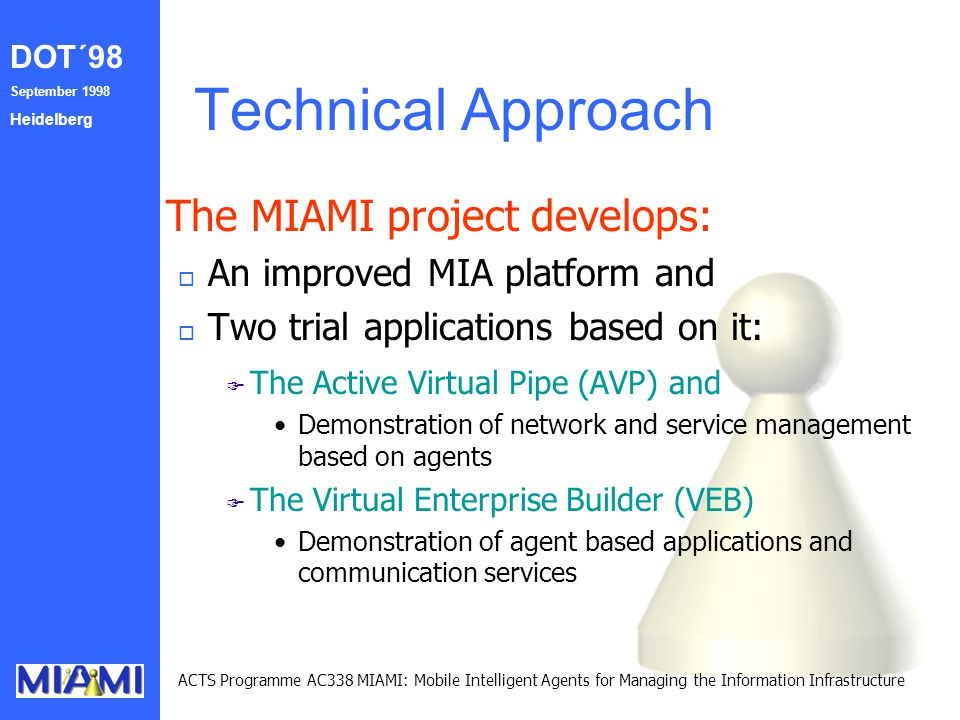 DOT´98 September 1998 Heidelberg ACTS Programme AC338 MIAMI: Mobile Intelligent Agents for Managing the Information Infrastructure Technical Approach The MIAMI project develops: o An improved MIA platform and o Two trial applications based on it: F F The Active Virtual Pipe (AVP) and Demonstration of network and service management based on agents F F The Virtual Enterprise Builder (VEB) Demonstration of agent based applications and communication services