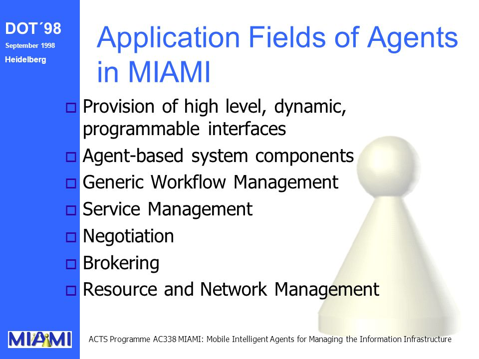DOT´98 September 1998 Heidelberg ACTS Programme AC338 MIAMI: Mobile Intelligent Agents for Managing the Information Infrastructure Application Fields
