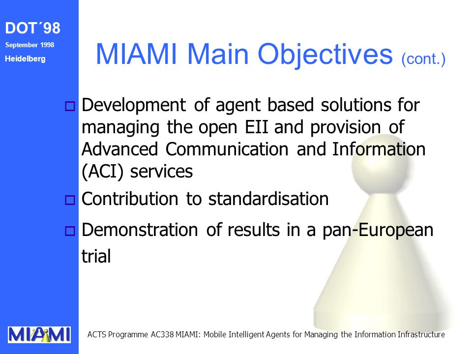 DOT´98 September 1998 Heidelberg ACTS Programme AC338 MIAMI: Mobile Intelligent Agents for Managing the Information Infrastructure MIAMI Main Objectives (cont.) o Development of agent based solutions for managing the open EII and provision of Advanced Communication and Information (ACI) services o Contribution to standardisation o Demonstration of results in a pan-European trial