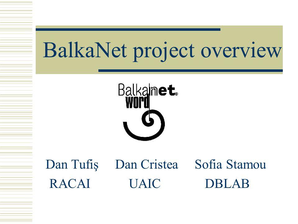 BalkaNet project overview Dan Tufiş Dan Cristea Sofia Stamou RACAI UAIC DBLAB