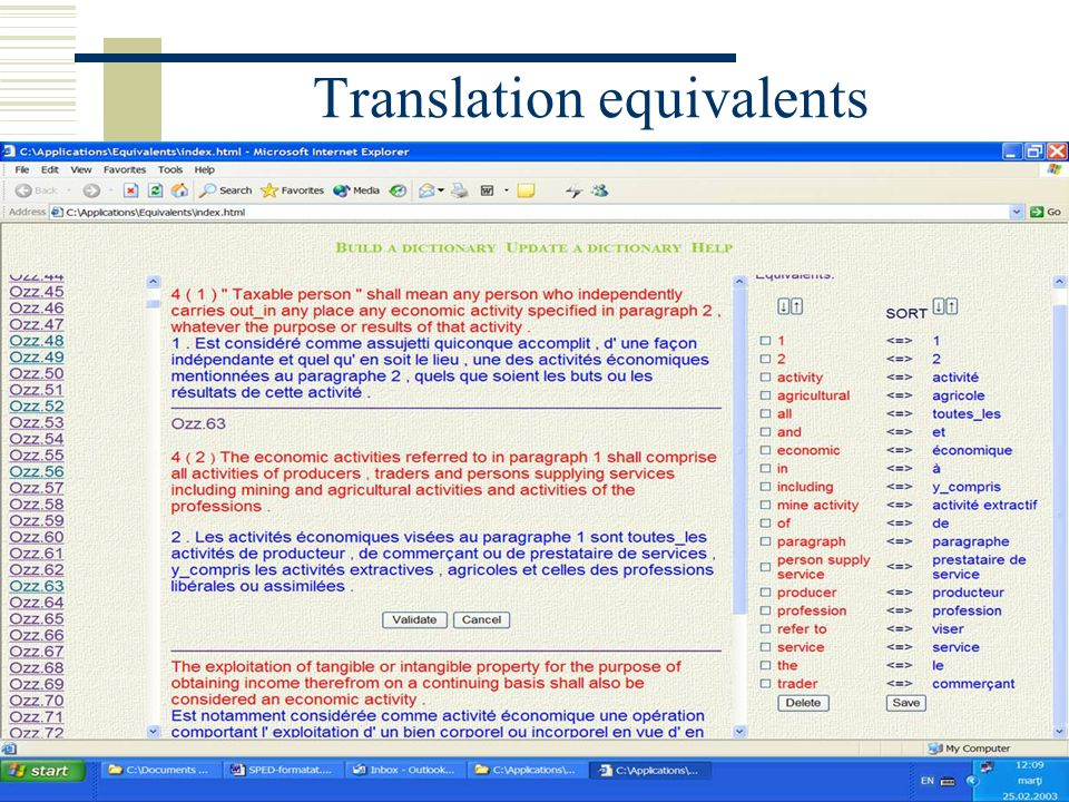 Translation equivalents