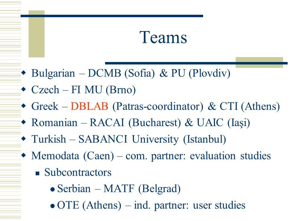 Teams  Bulgarian – DCMB (Sofia) & PU (Plovdiv)  Czech – FI MU (Brno)  Greek – DBLAB (Patras-coordinator) & CTI (Athens)  Romanian – RACAI (Bucharest) & UAIC (Iaşi)  Turkish – SABANCI University (Istanbul)  Memodata (Caen) – com.