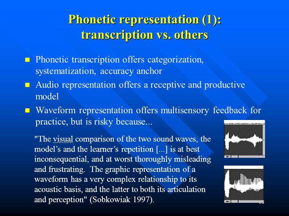 13 Phonetic representation (1): transcription vs. others Phonetic transcription offers categorization, systematization, accuracy anchor Audio represen