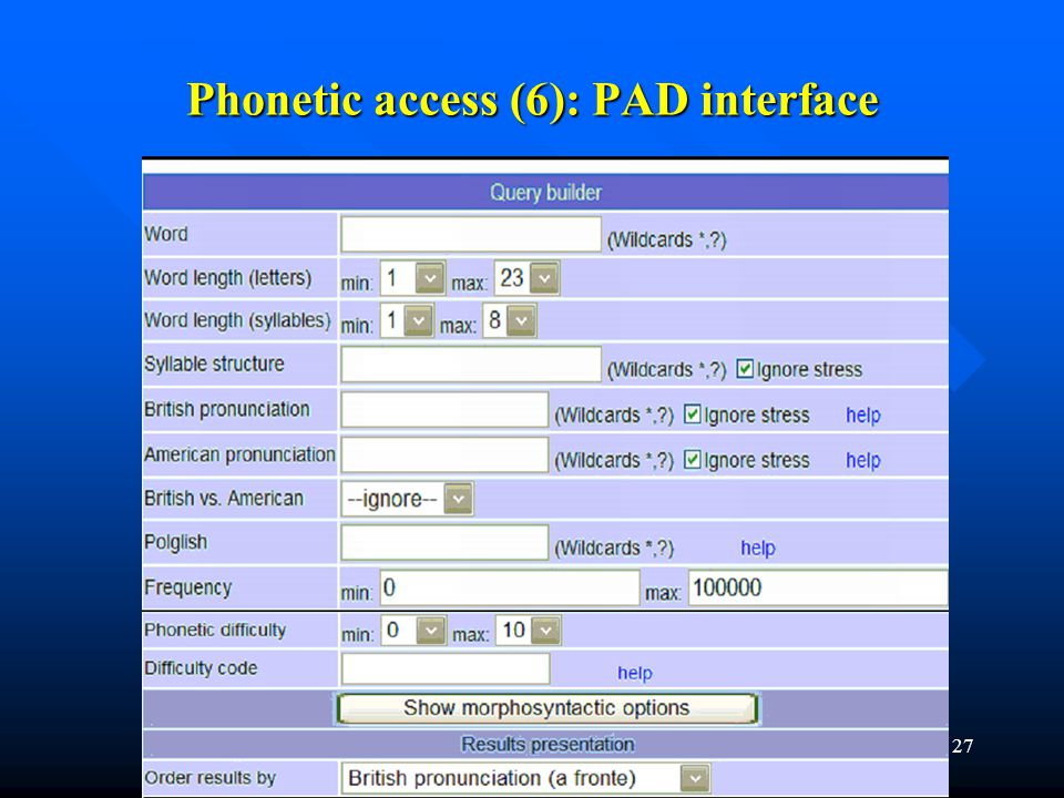 27 Phonetic access (6): PAD interface
