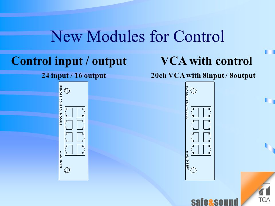 Control input / output 24 input / 16 output New Modules for Control
