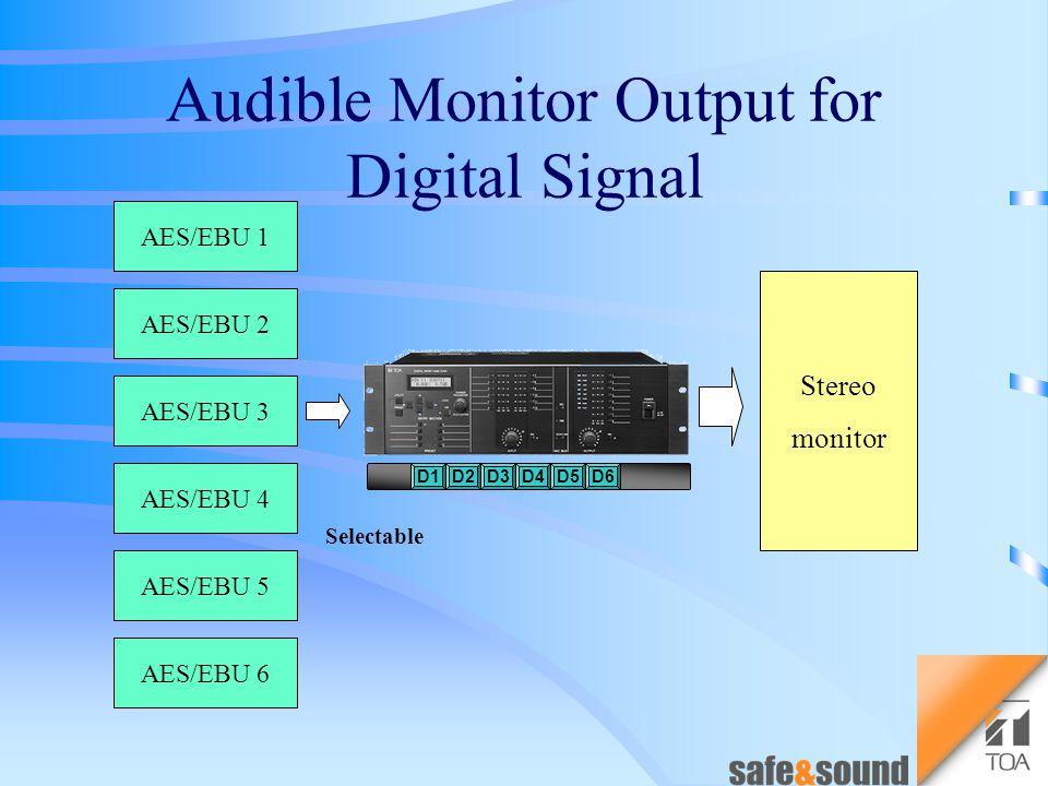 Digital output AES/EBU 4channel Analog output Electrical balance 4channel Digital input AES/EBU 6channel Analog input Electrical balance 6channel Parallel outputSelectable DADA Analog / Digital Converter