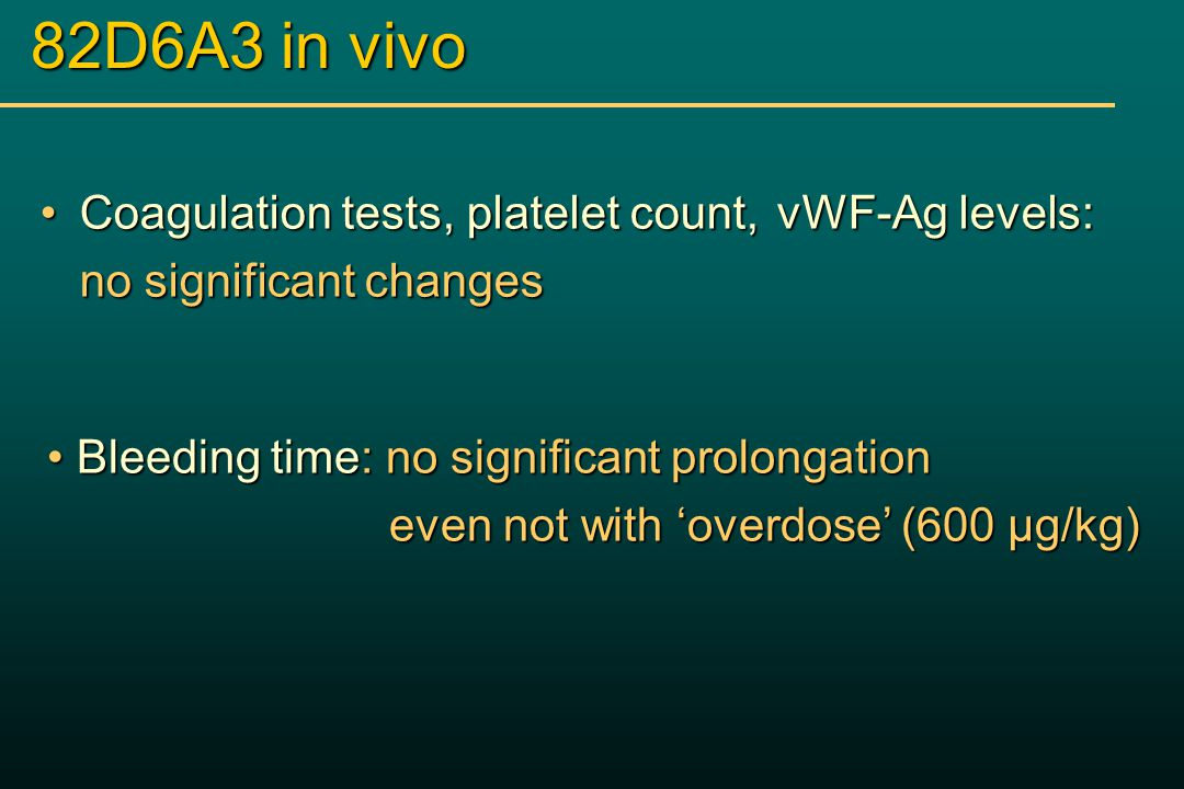 82D6A3 in vivo Coagulation tests, platelet count, vWF-Ag levels:Coagulation tests, platelet count, vWF-Ag levels: no significant changes Bleeding time: no significant prolongation Bleeding time: no significant prolongation even not with 'overdose' (600 µg/kg) even not with 'overdose' (600 µg/kg)