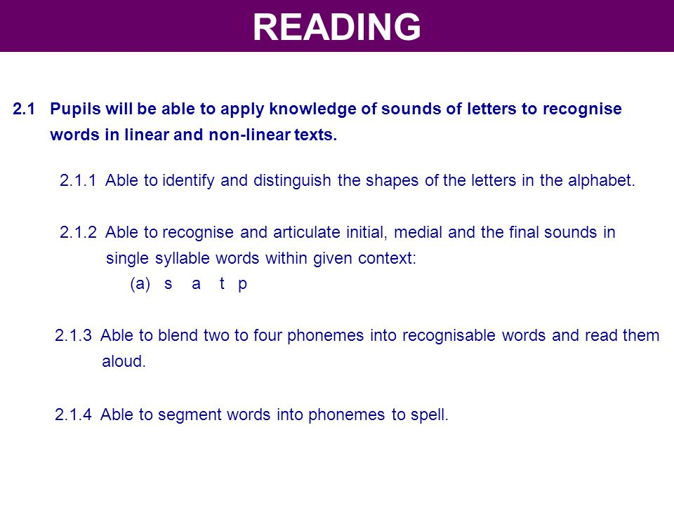 2.1 Pupils will be able to apply knowledge of sounds of letters to recognise words in linear and non-linear texts. 2.1.1 Able to identify and distingu