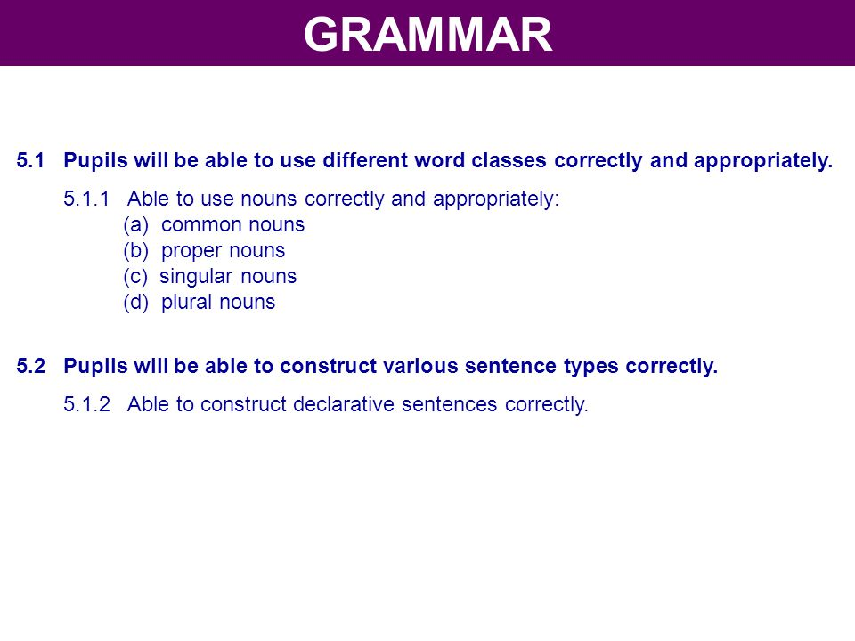 5.1 Pupils will be able to use different word classes correctly and appropriately. 5.1.1 Able to use nouns correctly and appropriately: (a) common nou