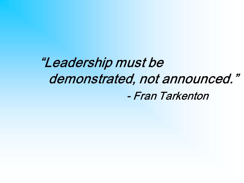 Leadership must be demonstrated, not announced. - Fran Tarkenton