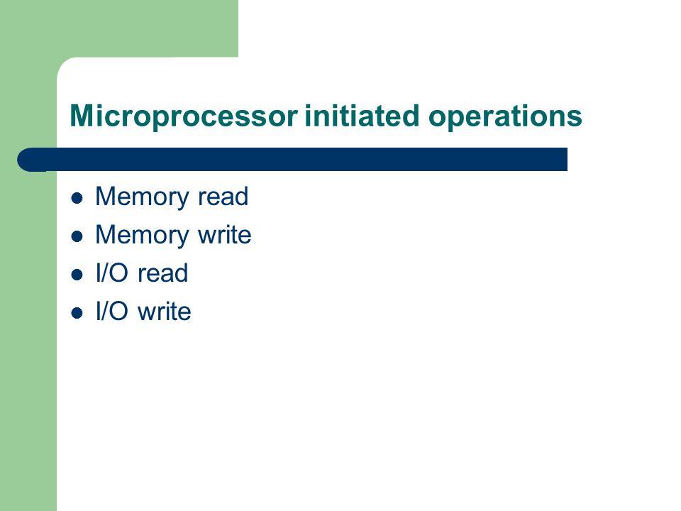 Microprocessor initiated operations Memory read Memory write I/O read I/O write
